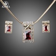 AZORA Diseño Único Chapado En Oro con Rojo Oscuro Cubic Zirconia Pendientes y Collar de La Joyería Sets TG0027