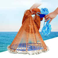Latający dysk amerykański ręcznie obsada sieć rybacka z ołowiane ciężarki 300 360 420 480 540 600 720cm łatwy w rzuć sieć rybacka narzędzia połowowe