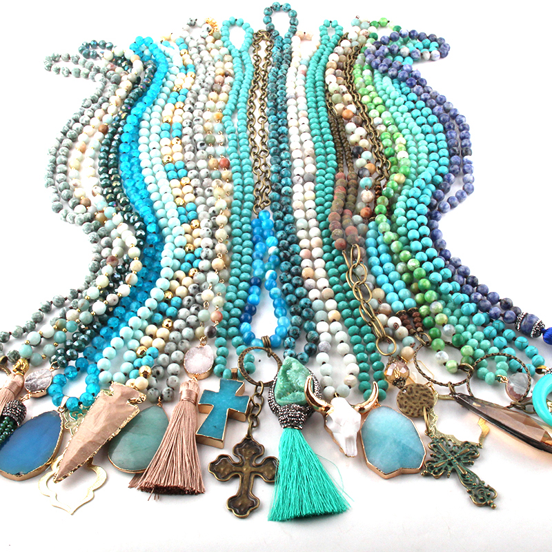 Wholesale Fashion Mix Color Blue Necklace Handmade Women Jewelry 20pc mix