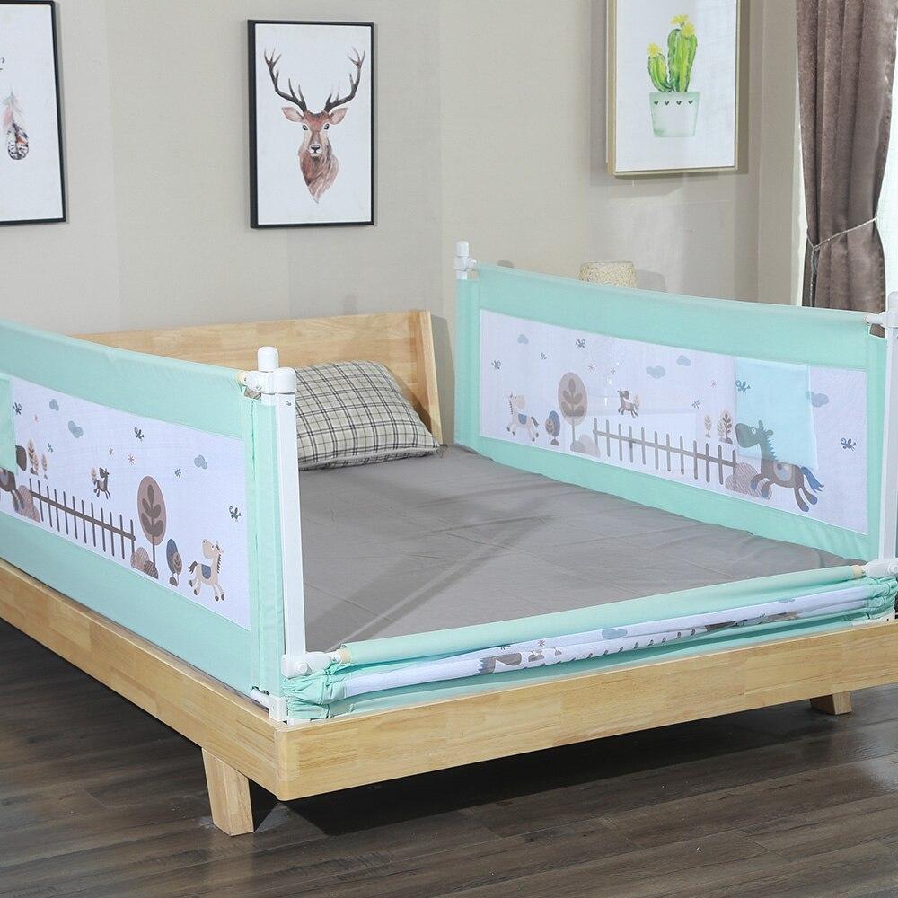 1.8M 1piece Cartoon Newborn Baby Cite Bed Guardrail Crib Rail Baby Safety Fence Guard Adjustable Infant Bed Rail Pocket Playpen