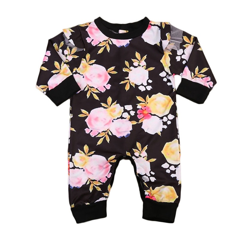 New Style Toddler Kids Baby Girls Clothes Summer Floral Long Sleeve Romper Jumpsuit Outfit Cotton Baby Clothing