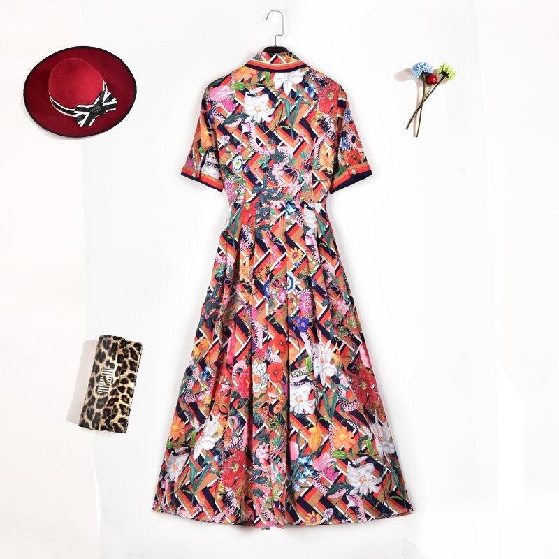 Taille Top Robes Robe Coloré Style Femmes Impression Élégante Floral Fit Manches D'été Courtes À De Bohème Plus Européenne Mode qaU8xFw5F