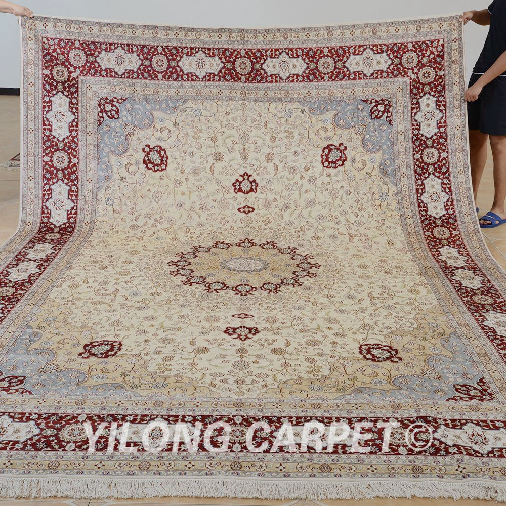 Yilong 9\'x12\' Antique classic hand knotted rug large beige medallion ...
