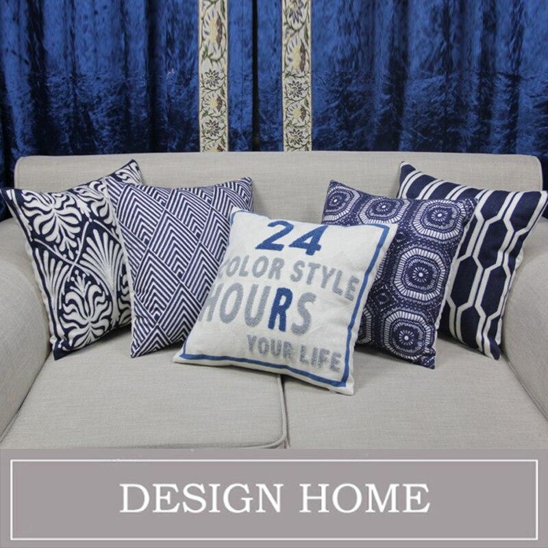Blue embroidered cushion covers decorative pillow covers for sofa housse de coussin linen cotton for Housse de sofa