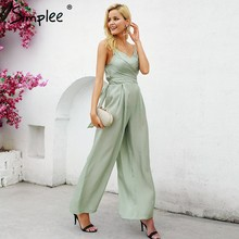 a073e75d07 Simplee Elegant v-neck lining women jumpsuit Solid satin bandage zipper jumpsuit  playsuit Summer casual wide leg jumpsuit long