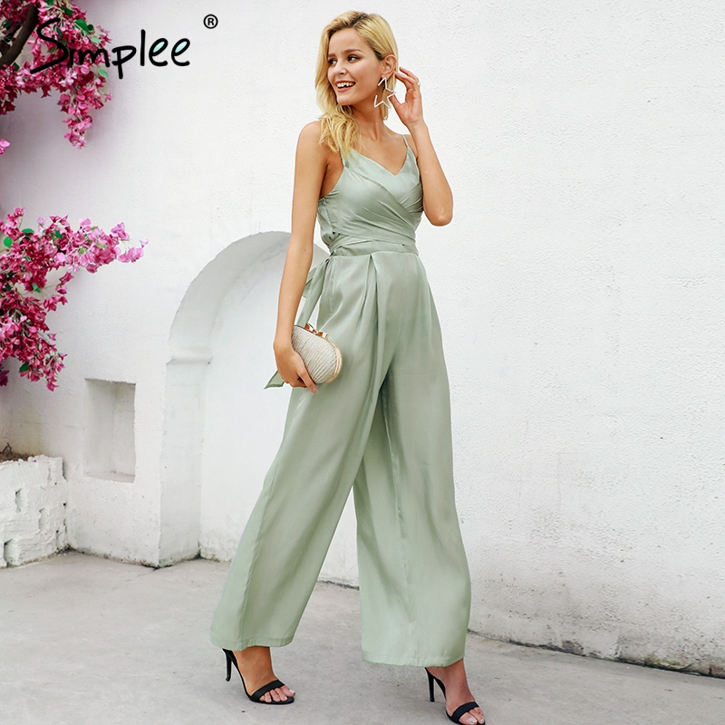 Simplee Elegant v-neck lining women jumpsuit Solid satin bandage zipper jumpsuit playsuit Summer casual wide leg jumpsuit long