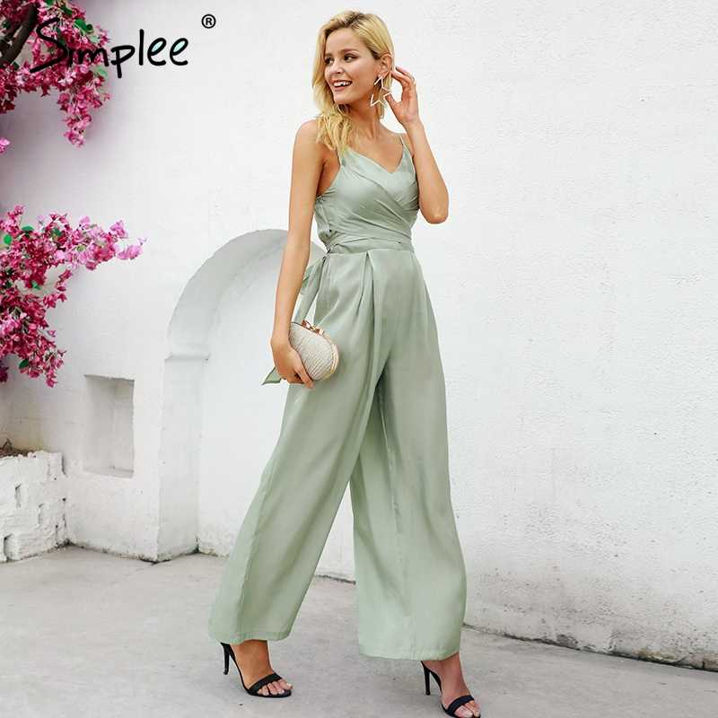 0aa0375b69db Simplee Elegant v-neck lining women jumpsuit Solid satin bandage zipper jumpsuit  playsuit Summer casual