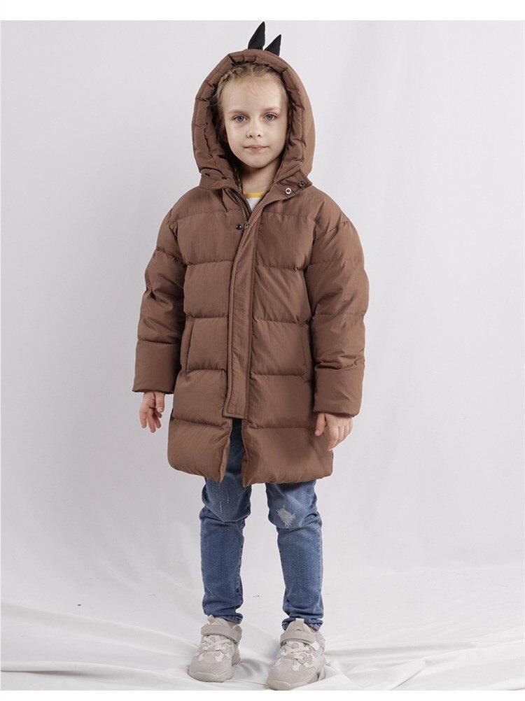 Style européen et américain hiver enfants vêtements super chaud épais mignon petit dinosaure style vers le bas veste d'extérieur pour les garçons