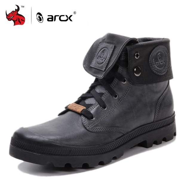 ARCX Retro style Men Leather Motorcycle Boots Lapel Men Leisure Shoes Motorcycle  Short Boots Retro Motorcycle Boots