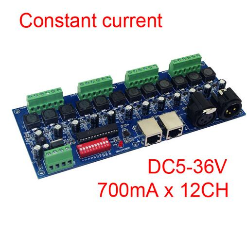 best price 1 pcs 700ma constant current 12 channel DMX512 decoder wite RJ45 XRL 3P use for led strip 350ma constant current 12ch dmx dimmer 12 channel dmx 512 dimmer drive led dmx512 decoder rj45 xrl 3p
