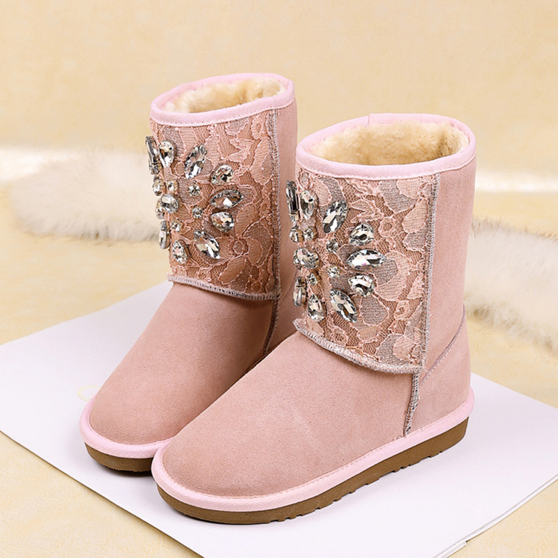 ФОТО European style Rhinestone Winter Snow Boots Women Shoes Warm Fur Women Boots Flat Botas Ladies Australia Womens sheepskin  Boots