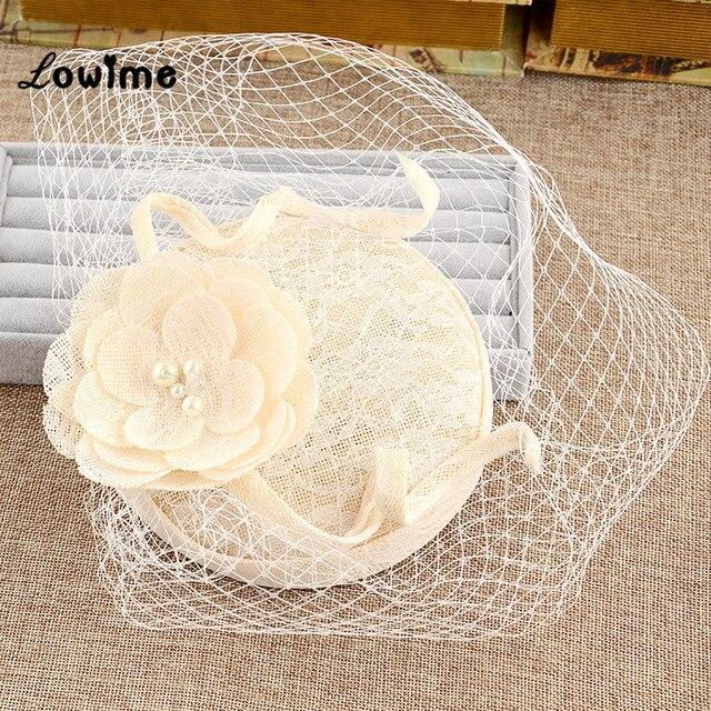 Uk Vintage Princess Bridal Hats Linen Wedding Hair Accessories With Flower Women Evening Hat