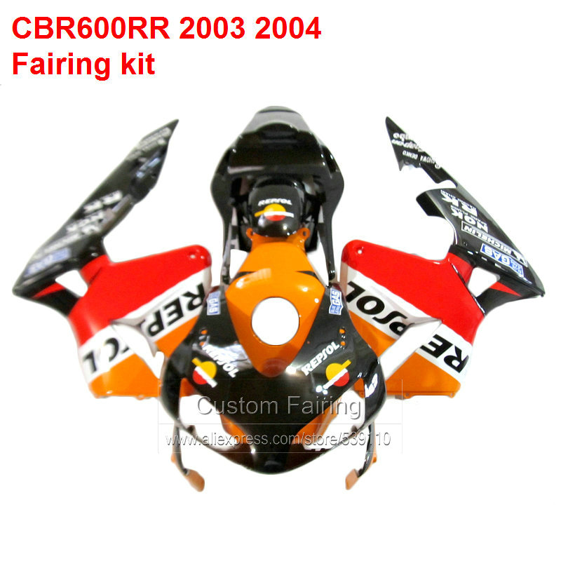 Orange & Red Fairings For HONDA CBR600RR 03 04 repsol sticker ( INJECTION Motorcyle) fairing kit /xl21