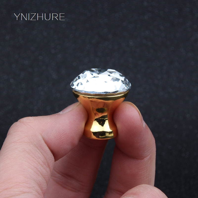 25mm Furniture Door Kitchen Cabinet Drawer Wardrobe pull Handle K9 Crystal Glass Gold Handle Diamond Shape Knob With Screw furniture handshandle kitchen cabinet handle bedroom wardrobe drawer knob big wine ark door pull silver gold hardware 96 224mm