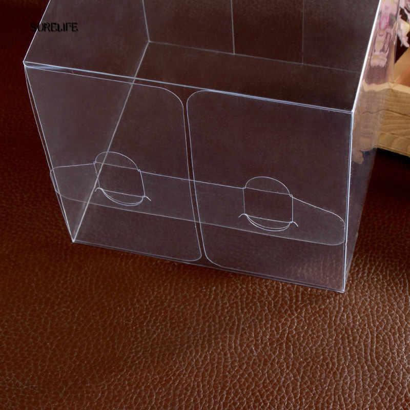 50 個透明パーティーキャンディーバッグ誕生日ギフトボックスクリアスクエア PVC 誕生日パーティーギフトボックスチョコレートキャンディボックス