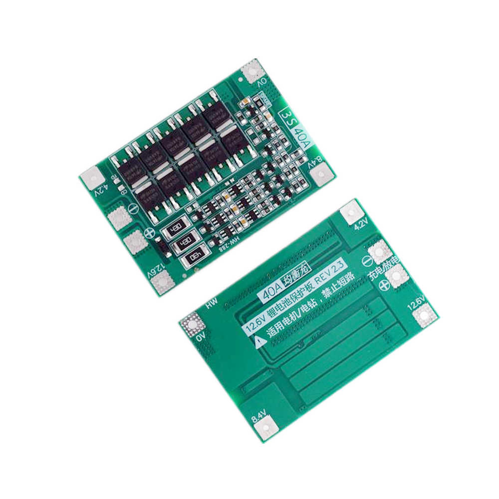 3S 40A Li-ion Lithium Battery Charger Protection Board PCB BMS For 40A Current Drill Motor 11.1V 12.6V Lipo Cell Module 1 Piece