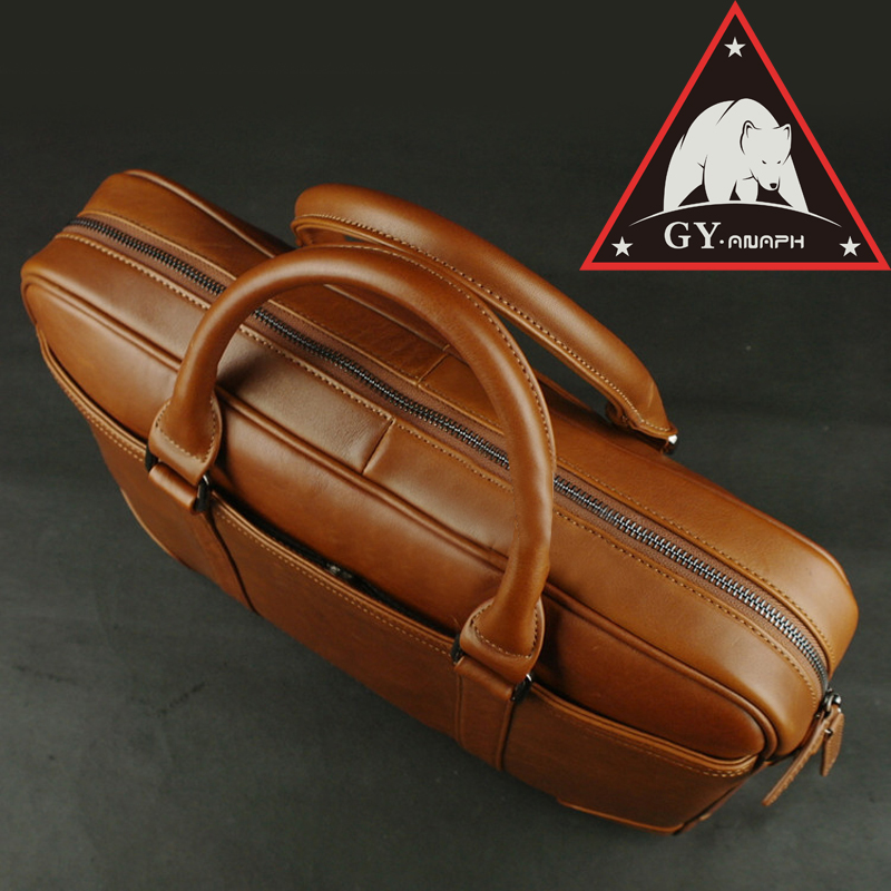ANAPH Full Grain Leather Messenger Briefcases For Men, Attache 15.6 Inch Laptop Case/ Office Tote Bag Olive (Hone) Brown