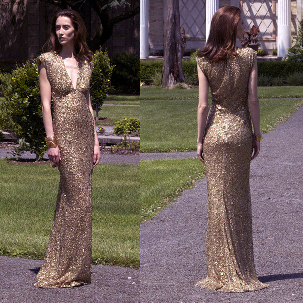 New Fashion Sequin Gowns V Neck Cap Sleeves Gold Long Dress Women