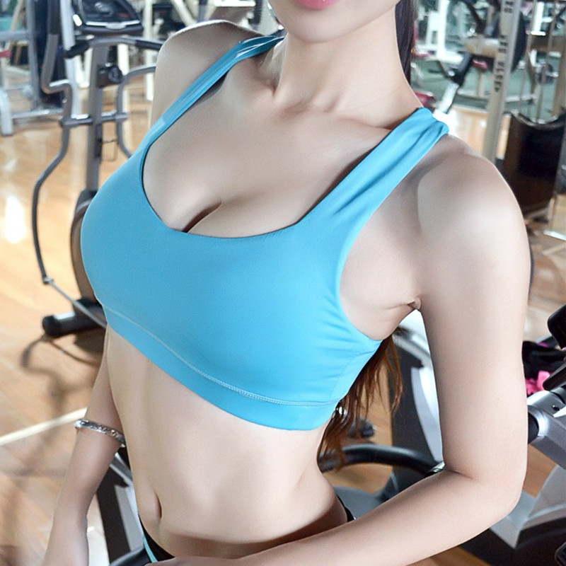Mermaid Curve Sexy Halter Women Padded Top Athletic Vest Gym Fitness Sports Bra Fast absorption Sweat Seamless Stretch Bra
