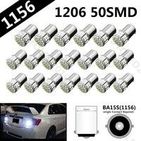 20pcs/lot P21W 1156 BA15S 3020 50led 1206 DC12V Car Brake Reserse Lights Fog Lamps Turn Signals Parking Bulb White 50 SMD LED