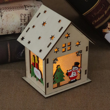 Festival Led Light Wood House Christmas Tree Decorations For Home Hanging Ornaments