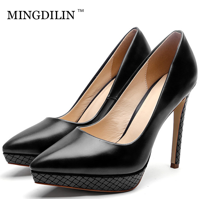 MINGDILIN Sexy Woman High Heels Shoes Women's Bridal Shoes Plus Size 33 43 Apricot Black Brown Wedding Party Pumps Stiletto 2018 cocoafoal woman green high heels shoes plus size 33 43 sexy stiletto red wedding shoes genuine leather pointed toe pumps 2018