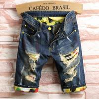 Novelty Style Men's Holes Denim Shorts Men Knee Length Short Jeans New Fashion Male Straight Denim Shorts Casual Shorts Size 40