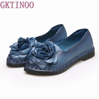 2017 Shoe For Women Handmade Shoes Genuine Leather Soft Flower Flats Autumn Driving Shoes Pointed Toe