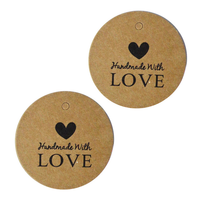 100pcs hand made with love kraft gift tags round packing gift hang