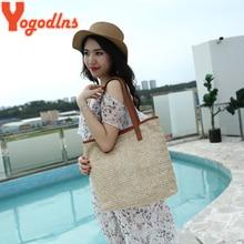 Yogodlns Straw Knitting Beach Bucket Bag for Women Summer Handmade Shoulder Bag Bohemia Style Woven Handbags Casual Travel Bags