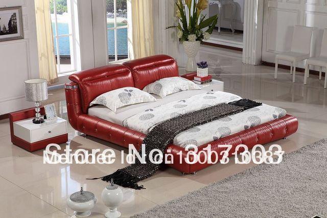 Dormitorio fruniture cama de cuero, cama suave, 1.8 kingsize cama, fábrica venta al por mayor precio ofrecido, mar shippment morden designH8069