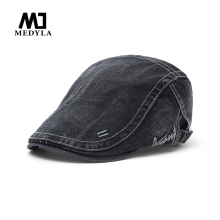 MEDYLA Men Cap Hats Berets British Western Style Embroidered letters h