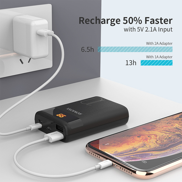 ROMOSS Ares 10 10000mAh Power Bank With Double USB Port  External Battery Pack Travel Size Portable Charger For Tablet iPhone 3