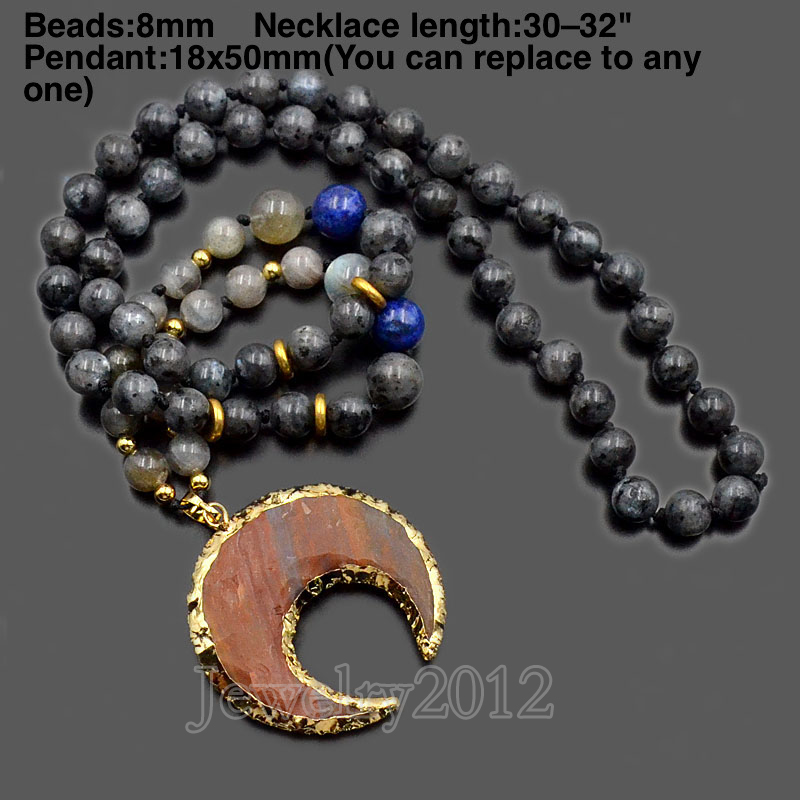 2PCS/Lot Larvikite Handmade Natural Gem stones 8mm Round Beads Buddhist Prayer Yoga Mala Necklace Fashion Diy Jewelry Wholesale-in Pendant Necklaces from Jewelry & Accessories    1