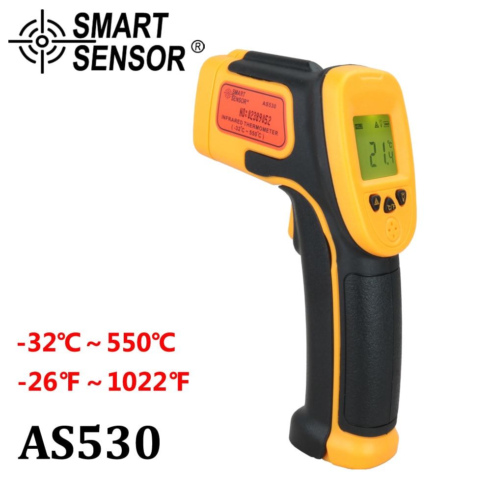 Digital Infrared Thermometer Pyrometer Smart Sensor AS530 -32~550C(-26~1022F) LCD Non-Contact IR Laser Point Gun thermometer smart sensor ar550 infrared thermometer black orange 32 550 c