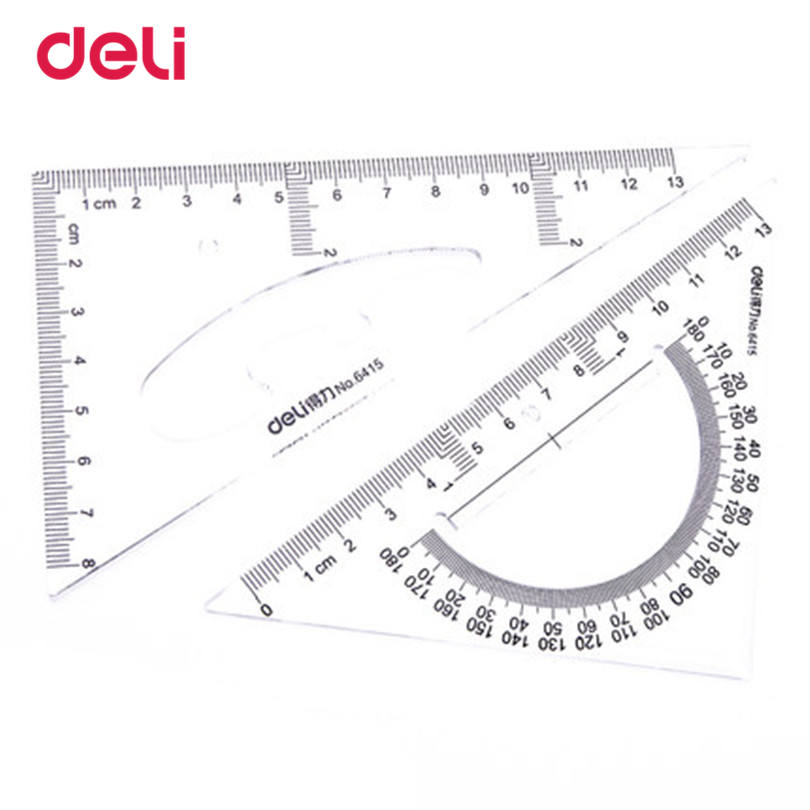 Deli Plastic Triangle Ruler Student Stationery Set Ruler Patchwork Ruler Templates For Drawing Triangle Ruler With Protractor