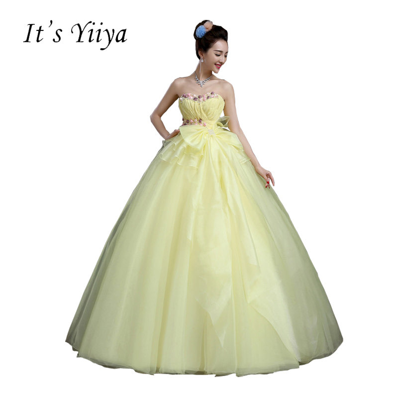 Free Shipping Strapless Flowers Yellow Wedding Dresses Pregnancy ...