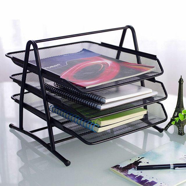 mesh metal magazine holder  3 layers file tray 34.5x24x29.5cm document organizer  removable file reel black good quality A4/FC