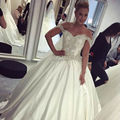 Shining Beads Satin Wedding Dress 2017 Bridal Ball Gowns Off Shoulder Short Sleeves Back Lace Up Bride Wedding Dresses casamento