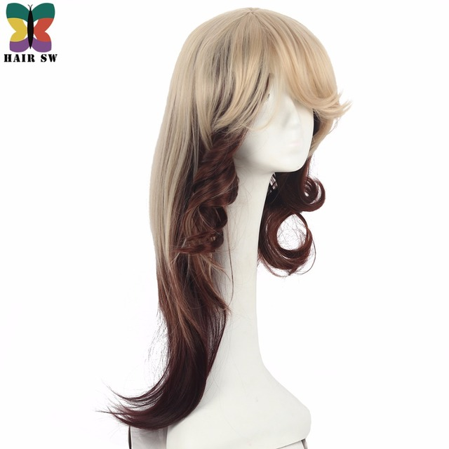 Hair Sw Long Layered Fox Straight Synthetic Wig Blonde Dark Brown