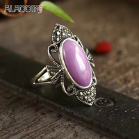 Nature Sugilite Stone Ring Surface Adjustable 925 Sterling Silver Ring For Women Wedding Party Engagement 2017