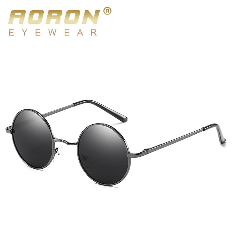 b3543842dd AORON Retro Polarized Sunglasses Women Brand Designer Steampunk Mirror Anti  Reflective Sunglasses Round Sun Glasses With Case -in Sunglasses from  Apparel ...