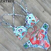 ZMTREE 2017 New Swimwear Bandage Bikini Sexy Hot Bikini Set Women Swimsuit Double Sides Brazilian Biquini