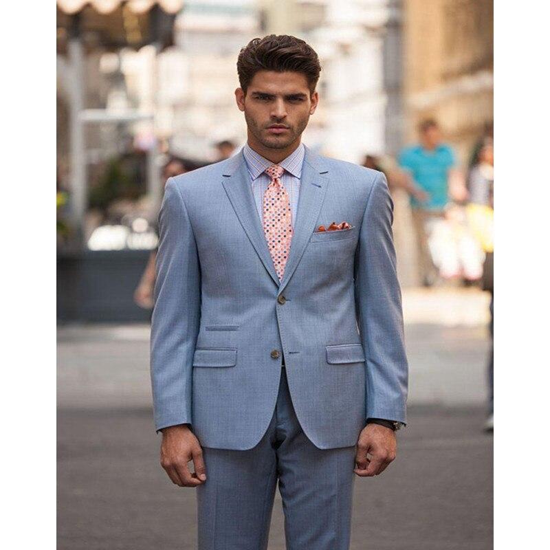 Custom Made Bespoke Casual Style Groomsmen Notch Lapel Two Buttons Groom Tuxedos Men Suits Wedding Best Man Blazer (Jacket+Pants
