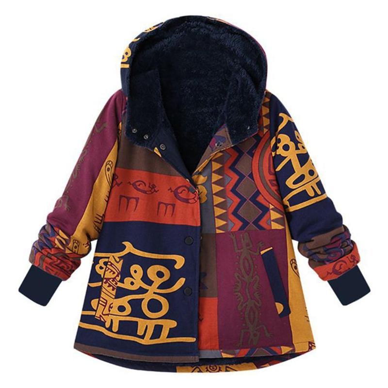 Women Winter Coat Long Sleeve Hooded Thicken Coat Warm Faux Fluffy Ethnic Printed Jackets Fashion Vintage Women overcoat