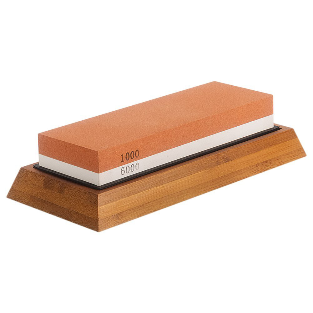 Deluxe Sharpening Stone 2IN1 Whetstone with Angle Guide & NonSlip Bamboo Base 1000/6000