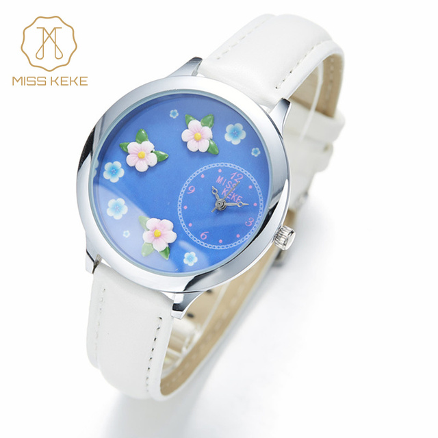 Miss Keke Brand Children Quartz-Watch Women 3D Dial Floral Girls Cartoon Watches Kids Leather Bracelet Designer Wrist Watch 13