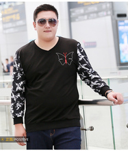 Autumn new arrival plus size men's clothing butterfly embroidered pullover sweatshirt outerwear 4XL 5XL 6XL 7XL
