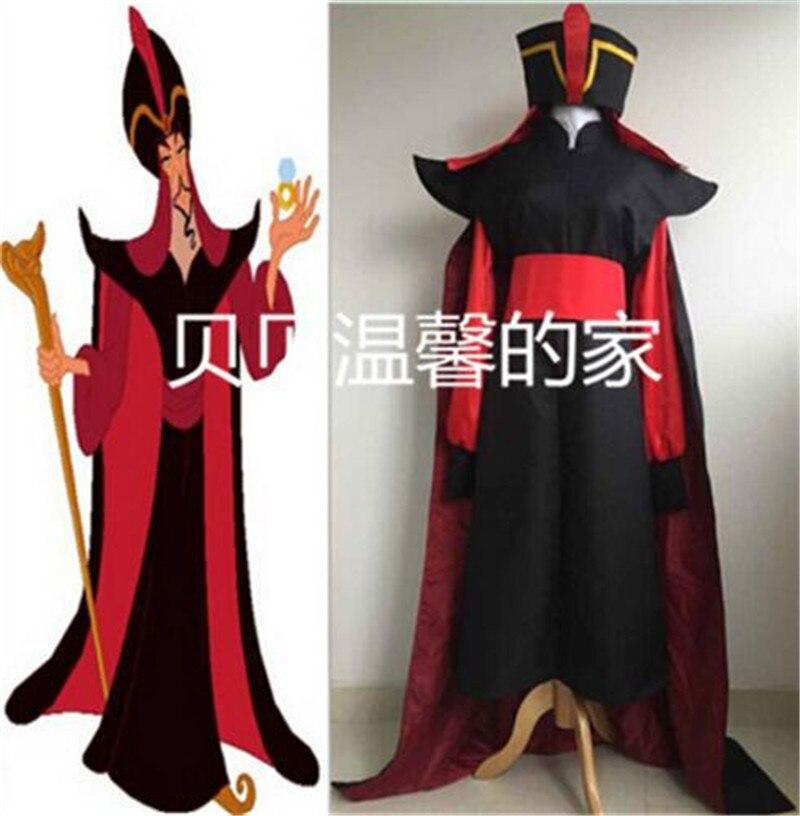 Delizioso New Aladdin Il Ritorno Di Jafar Halloween Costumi Cosplay Robe Capo Mantello Cappello Da Mago Outfits Uomo Aladdin Qualsiasi Formato Libero Libero