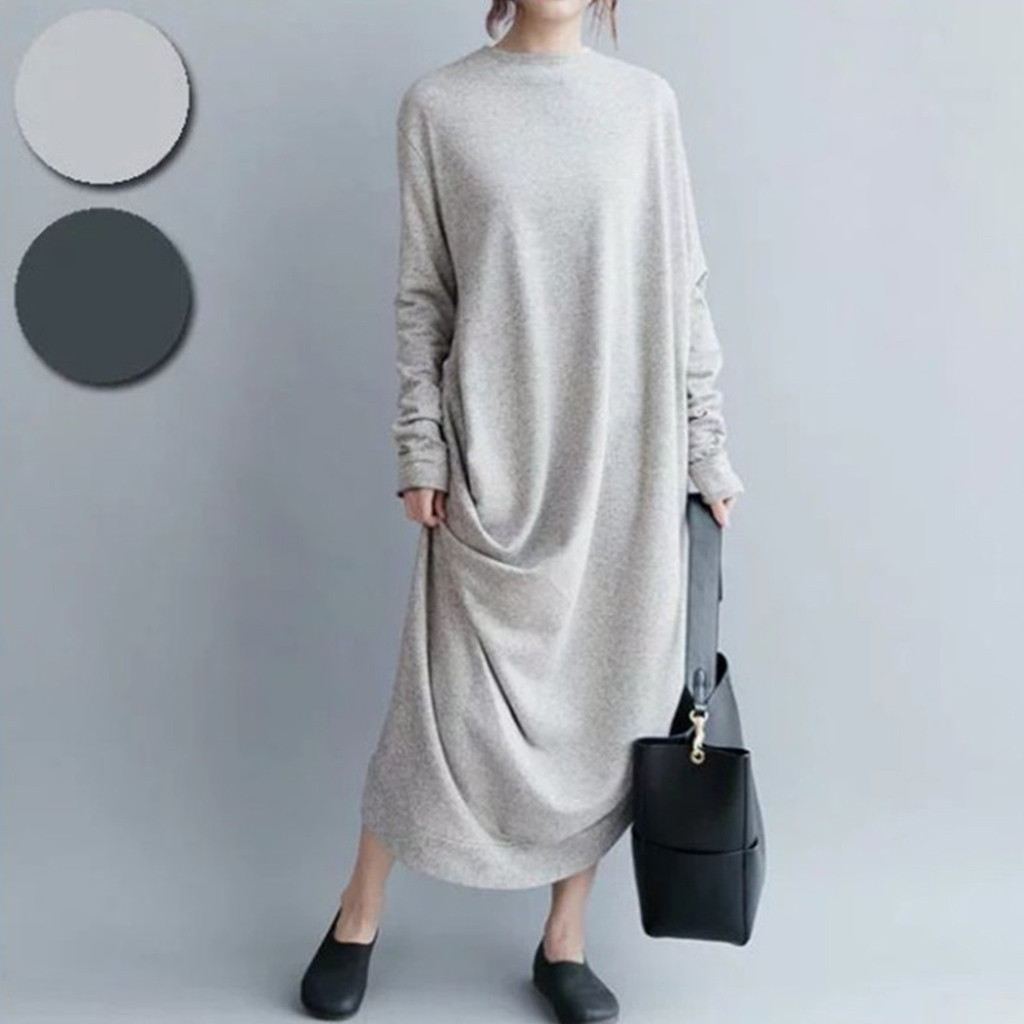 JAYCOSIN Plus Size Women's Casual Long Sleeve O-Neck Cotton Long Maxi Irregularity Ankle-Length Natural Dress Black Gray z1213
